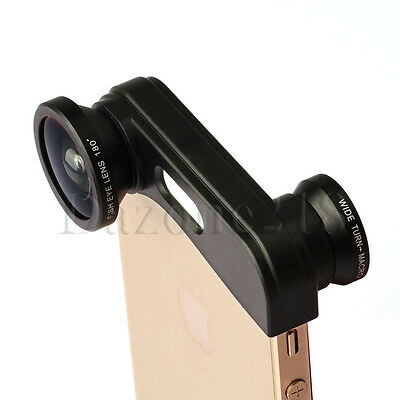 Black 3in1 Fish Eye Fisheye + Wide Angle + Micro Lens Kit for Apple iPhone 5S 5