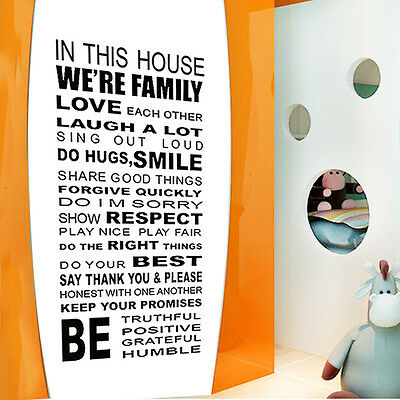 2015 DIY Quote Family House Rules Vinyl Art Wall Sticker Decal Home decor LXL