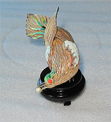 ANTIQUE CHINESE STERLING SILVER & ENAMEL BIRD OF PARADISE FIGURE EXPORT