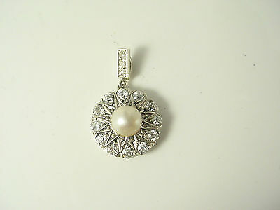 Estate Vintage Antique Silver Round Old European Diamond Pearl Pendant*3