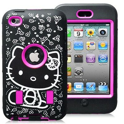 Hello Kitty Shockproof Hot Pink Black Hybrid Case for Apple iPod 4 Cute Cover