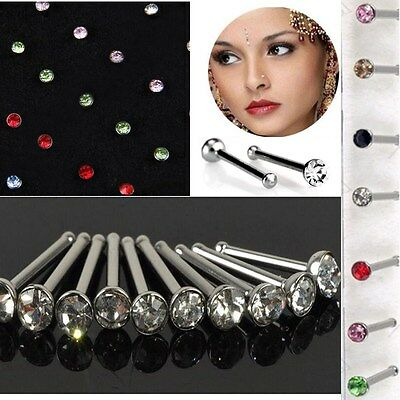 40x MIX COLOUR CRYSTAL BULK LOT NOSE RING BONE STRAIGHTSTUD UNISEX BAR PIERCING