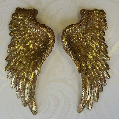 Decorative Pair of Gold Angel Wings Wall Hanging Ornament Antique French Style