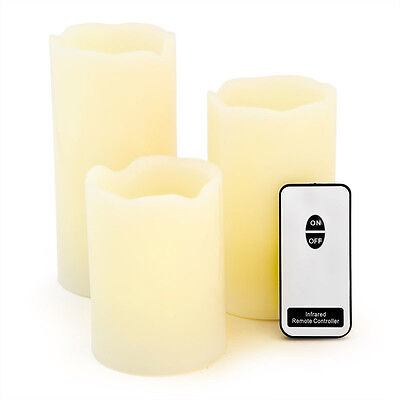 3 Flameless LED Candles with Wax Coating + Remote Battery-Run Flickering Light