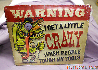 MECHANIC TOOL BOX RAT FINK WARNING CRAZY WHEN PEOPLE TOUCH MY TOOLS SIGN SNAP ON