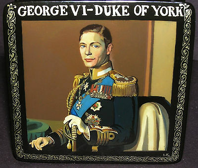 KING GEORGE VI  DUKE OF YORK HAND PAINTED LACQUER BOX ROYALTY QUEEN ELIZABETH II