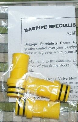 set of 3 Yellow Drone Valves for Bagpipe pipes highland