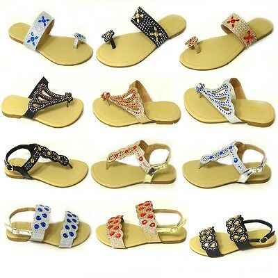 5d68b196e640ce Ladies Flat Diamante Toe Post Womens Pearl Holiday Dressy Party Sandals  Size 3-8