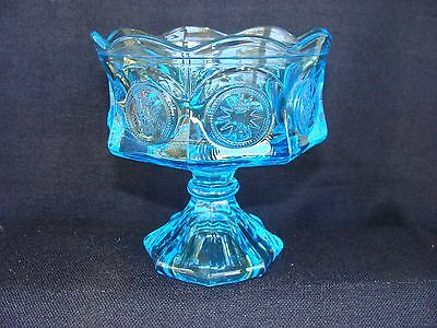 Lancaster Glass coin glass light blue compote Fostoria Style