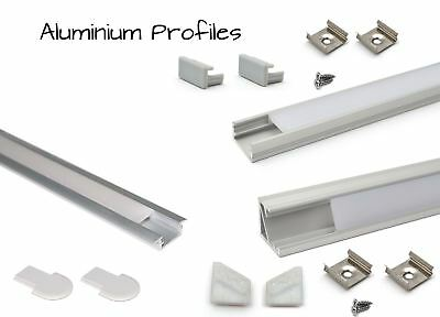 LED Aluminium Profile Straight Recessed Corner 1M + End caps, Mounting brackets