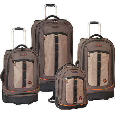 TIMBERLAND JAY PEAK COCOA / ORANGE 4 PIECE LUGGAGE SET $1340 NEW