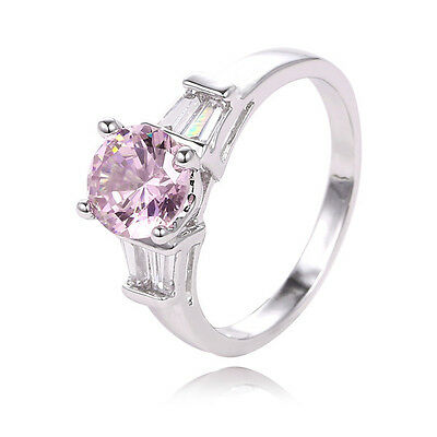 New Arrival 1PC 925 Sterling Silver Glitter Pink Cubic Zirconia Ring Size7
