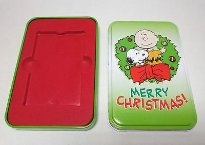 Peanuts Snoopy Charlie Brown Christmas Gift Card Holder Metal Tin Box