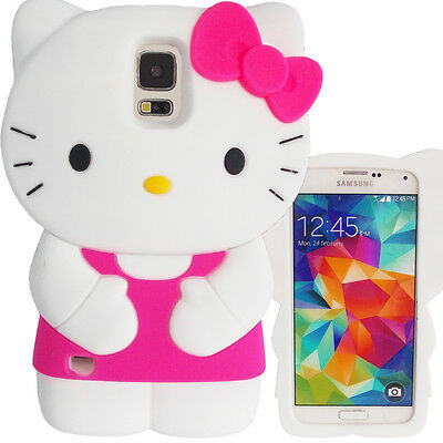 3D Hot Pink White Hello Kitty Case for Samsung Galaxy S5 Cute Silicone Cover