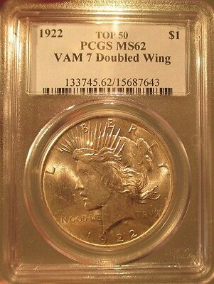 1922 Silver Peace Dollar PCGS MS 62 Vam 7 DOUBLED WING Top 50 Mint Error Variety