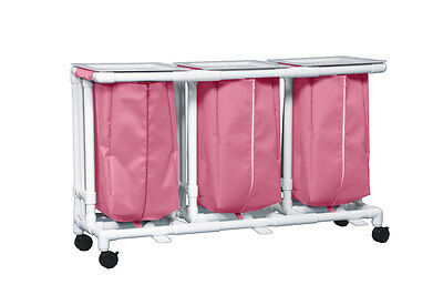 Triple Linen Hamper with Footpedal Mesh Wineberry 1 EA