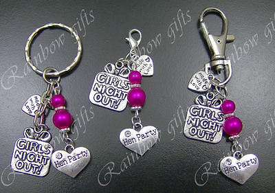 Clip On Charm Personalised Keyrings Hen Party Wedding Favours Keepsakes