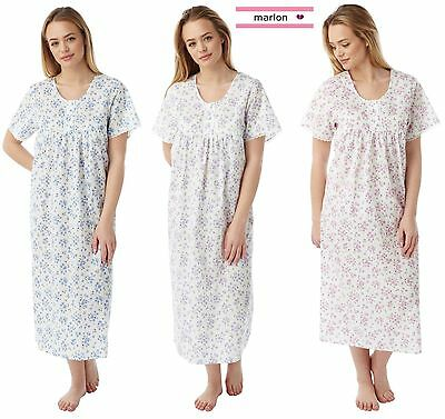 Ladies Floral Poly/ Cotton Nightdress Nightie  Size 10-30 Plus Size New MN-11
