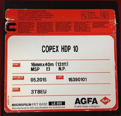 AGFA Copex HDP 10 Microfilm 16mm x 40m (131ft) 16390101 Expiry May 2015 NEW