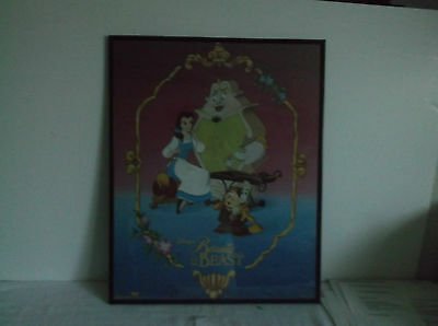 "Beauty and the Beast Poster Vintage Disney Princess Belle 16"" x 20"" Framed Black"