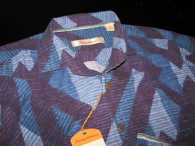 Tommy Bahama New 100% Silk Camp Shirt Large L Ornate Paradise  Eclipse T35273