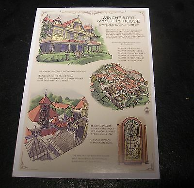 Winchester Mystery House Postcard - Mansion Facts