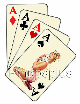 Pinup Waterslide Decal Four Aces Cards Gambling S244 by Pinupsplus