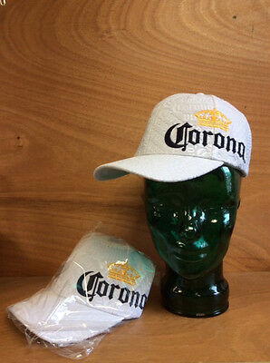 Corona Extra Cerveza Beer White EMBOSSED Hat Adjustable - New - MUST SEE  - OSFA