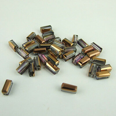 Cuboid 4x8mm 20pcs glass crystal charms loose beads color purple