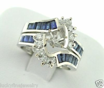 2.27 ct BLUE SAPPHIRE DIAMOND RING setting SEMI MOUNT set  14k  made in USA