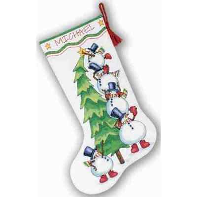 Counted Cross Stitch Kit TRIMMING THE TREE Stocking; Snowman Snowmen