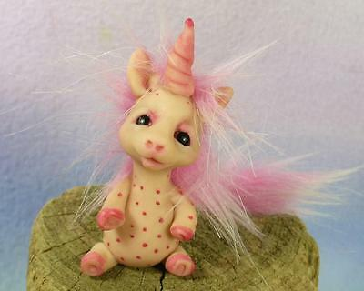 PINK SPOTTED UNICORN OOAK by Lori of TROLL TRACKS  gnome fairy fantasy art doll