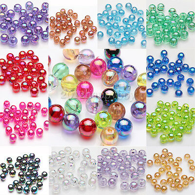 NEW 50/100pcs Acrylic Plated AB Loose Spacer Round Beads Jewelry Finding 8mm