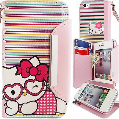 Hello Kitty PU Leather Colorful Stripes Wallet Case for iPhone 4 4S Pink Cover
