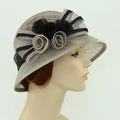 New Woman Church Derby Wedding Sinamay Ascot Cloche Dress Hat SDL-001 Taupe