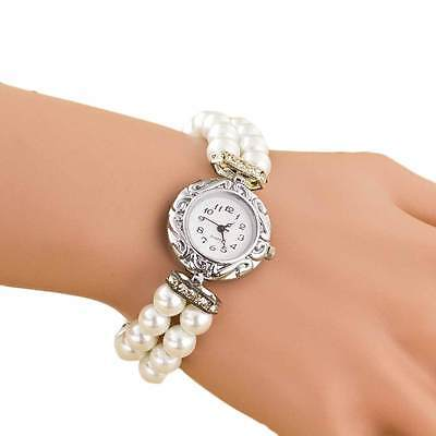 WHITE Girl's Beautiful Fashion Brand Round Golden Pearl Quartz Bracelet Watch