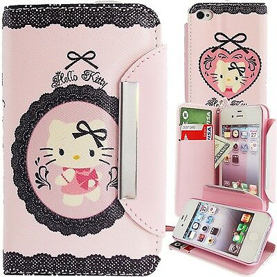 Hello Kitty PU Leather Lace Print Wallet Case for Apple iPhone 4 4S Phone Cover