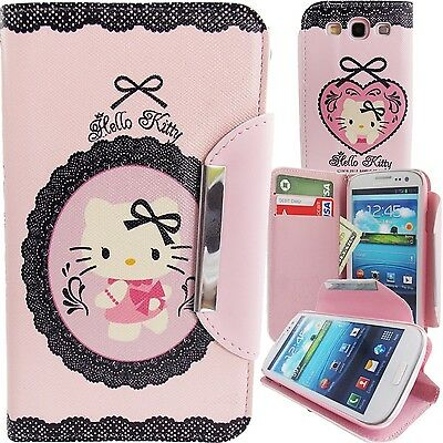 Hello Kitty Pink PU Leather & Lace Wallet Case for Samsung Galaxy S3 Phone Cover