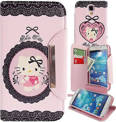 Hello Kitty PU Leather Lace Print Wallet Case for Samsung Galaxy S4 Phone Cover