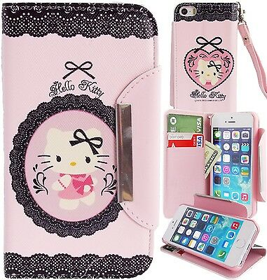 Hello Kitty Pink PU Leather Lace  Wallet Case for Apple iPhone 5 5S Phone Cover