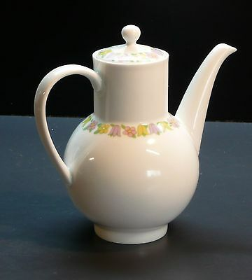 Vintage Arzberg Germany White Porcelain Coffee Pot with Tulip & Daisy Pattern