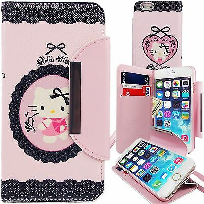 Cute Hello Kitty PU Leather Lace Wallet Case for Apple iPhone 6 Plus 5.5 Cover