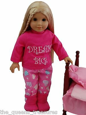 "18"" Doll Clothing DREAM BIG COMPLETE PAJAMA SET Fits American Girl Doll Clothes"
