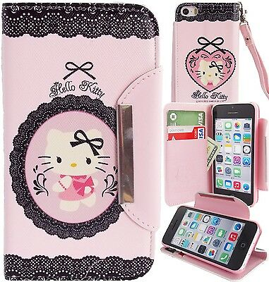 Pink Black Hello Kitty PU Leather Lace Wallet Case for Apple iPhone 5C Cover