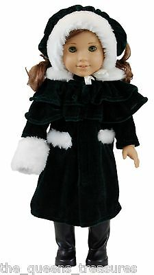 "18"" DOLL CLOTHES Fits AMERICAN GIRL 1914 Style Winter Coat, Hat, Cape, Muff NEW"