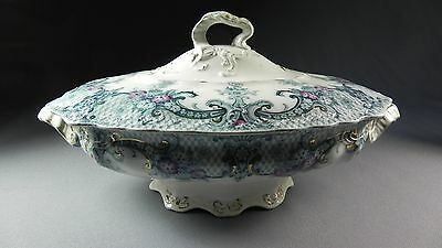 Antique Royal Wood & Son Keswick Covered Vegetable Dish Server Gold Gilt Colors