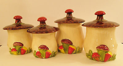 VTG. 1970'S CALIFORNIA POTTERY SET OF 4 MUSHROOM CANISTER SET #545 GREAT COND