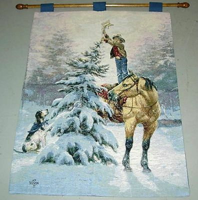 Upon The Highest Bough ~ Christmas Tapestry Wall Hanging