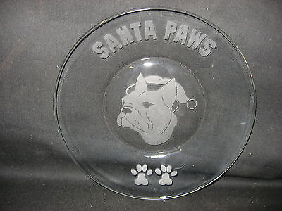 NEW ETCHED FRENCH BULLDOG SANTA PAWS CHRISTMAS GLASS PLATE