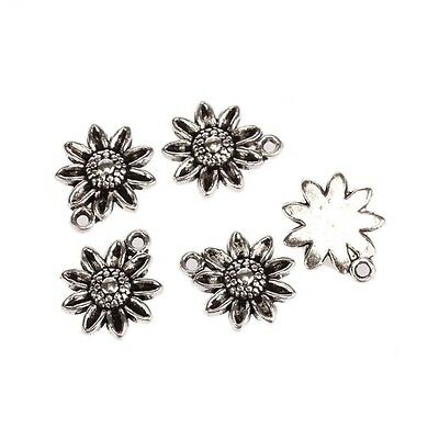 Flower Tibetan Silver Bead charms Pendants fit bracelet 10pcs 18*15mm free ship